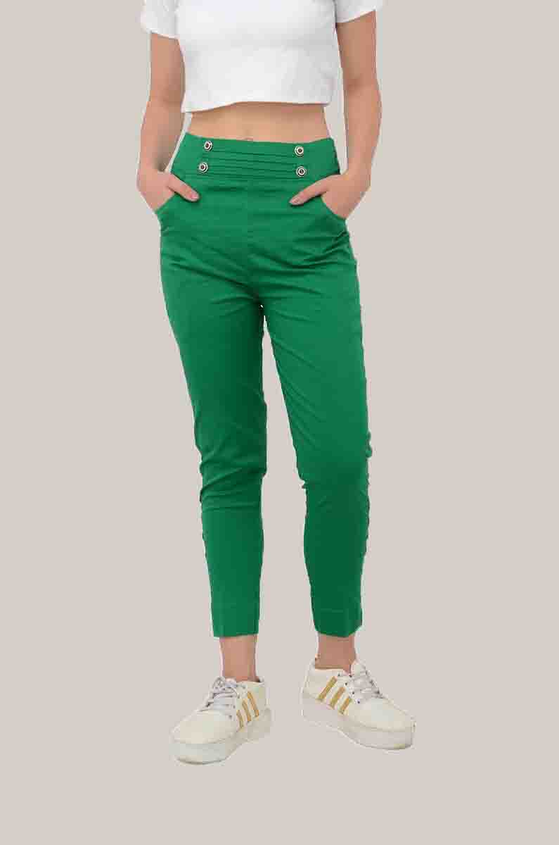 Green Cotton Lycra Roll Up Pant-33493