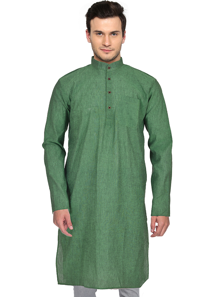 Green Cotton Plain Handloom Khadi Long Kurta-33148