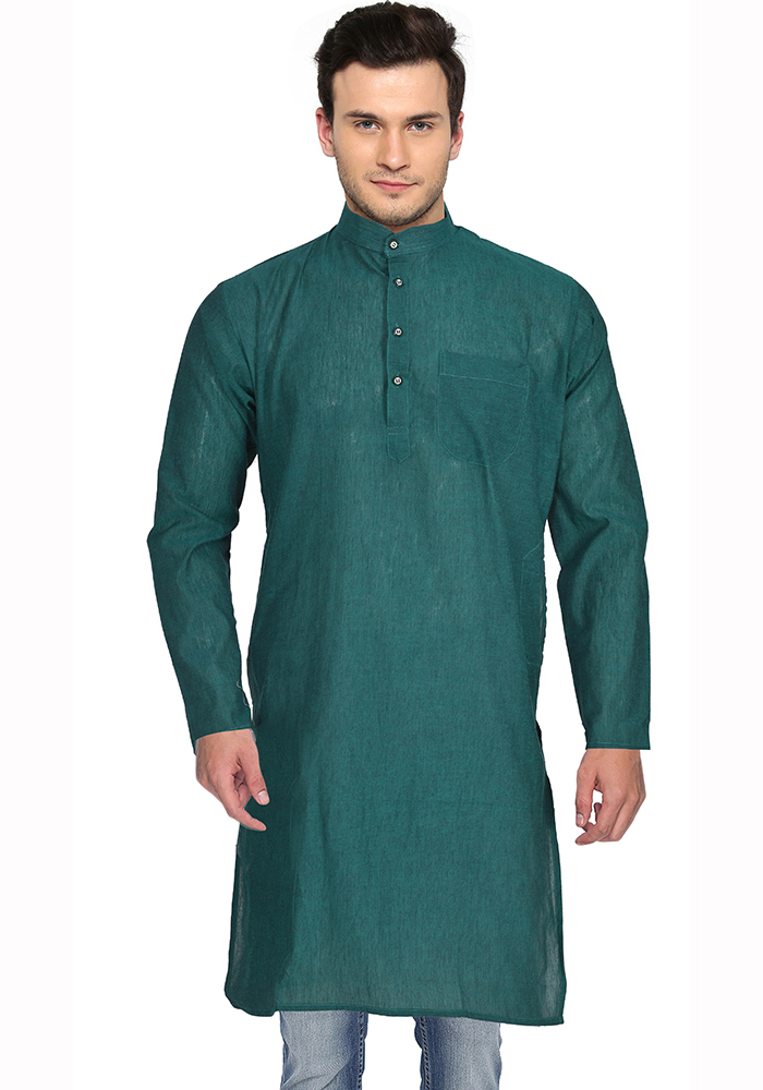 Green Cotton Plain Handloom Khadi Long Kurta-33152