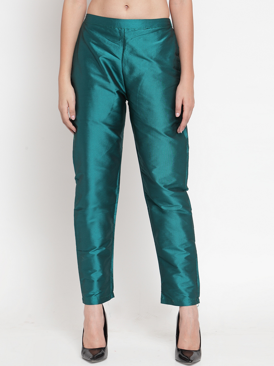 Green Cotton Silk Ankle Pant-34282