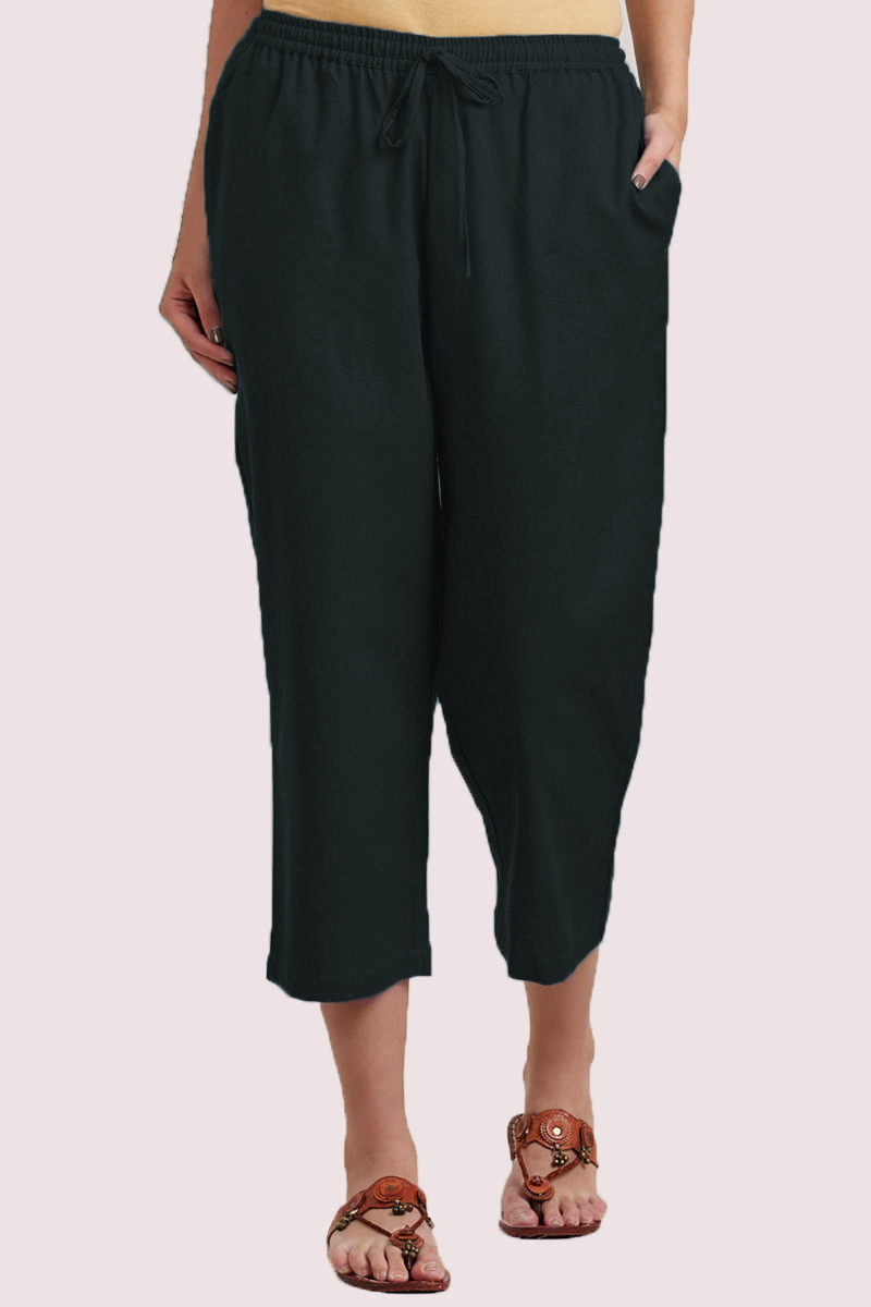 Green Cotton Solid Women Culottes-33856