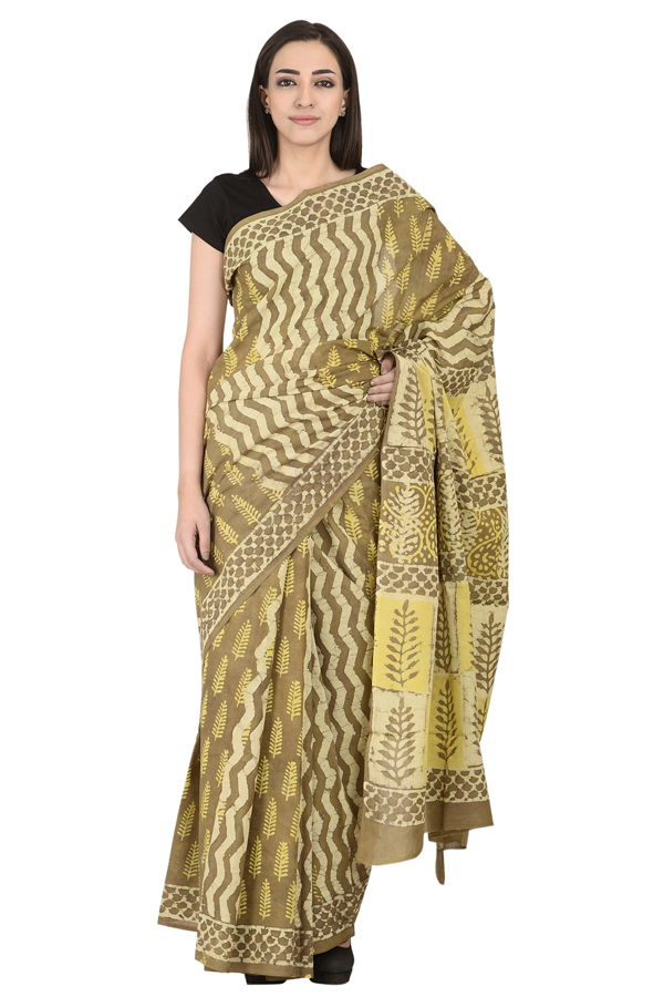 Green-Cream and Yellow Leaf Design Cotton Block Print Saree-20109
