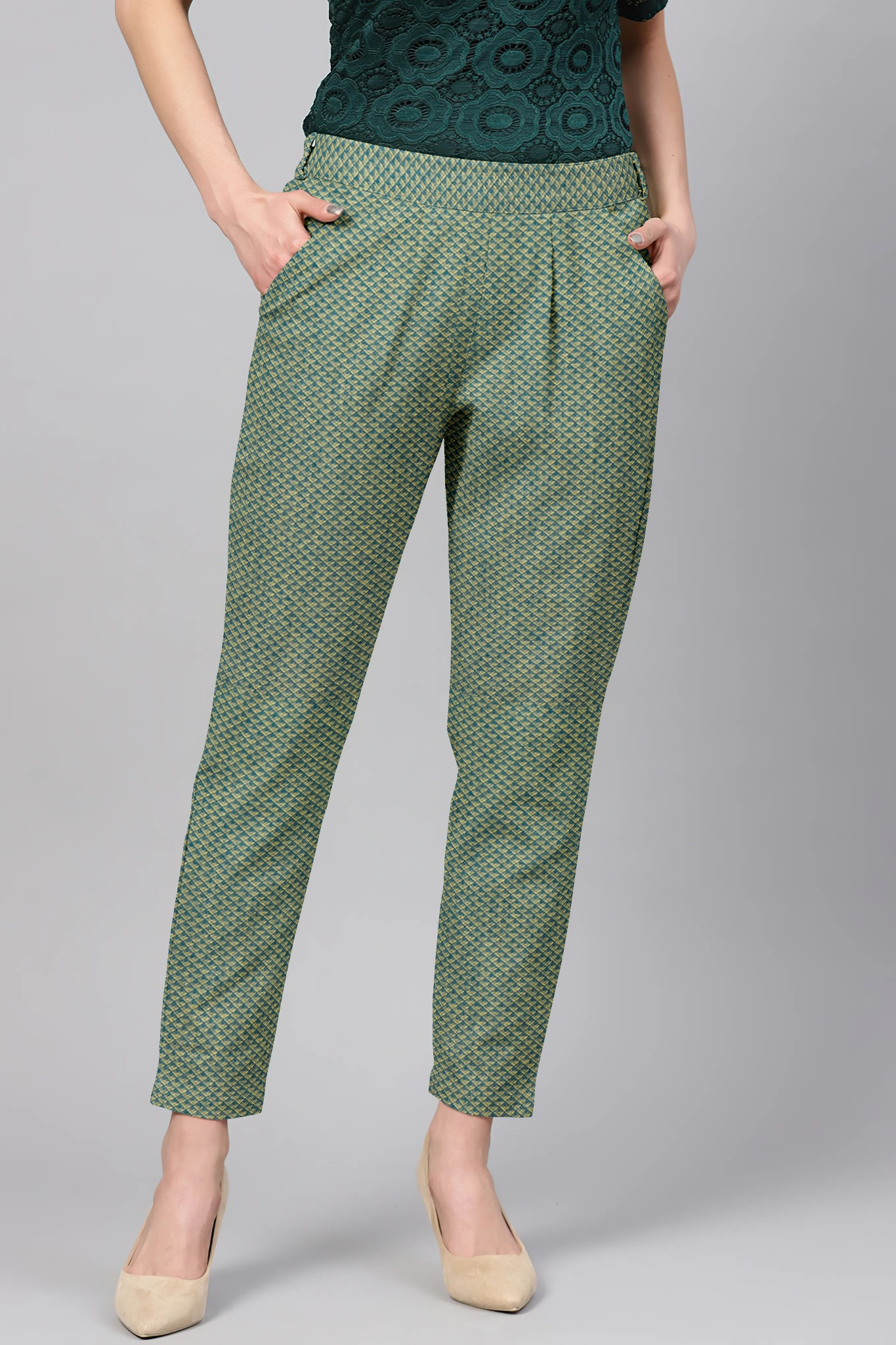 Green Cream Cotton Polka Regular Fit Solid Trouser-36079
