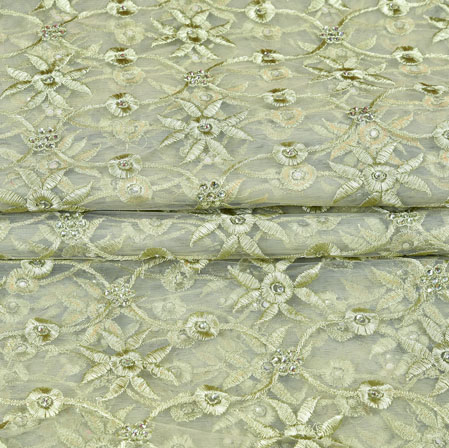 Green Cream Floral Net Embroidery Fabric-19255
