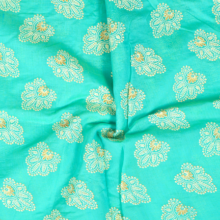 Green-Cream and Silver Flower Design Chanderi Silk Fabric-9024
