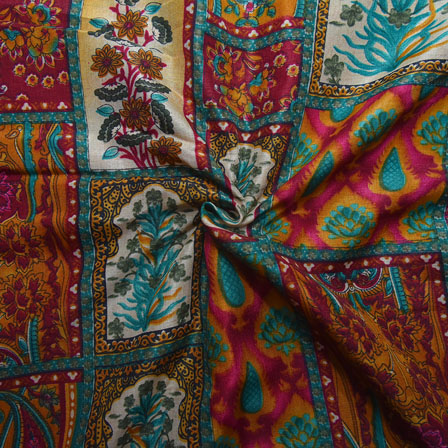 Green-Cream and Pink Floral Design Kalamkari Manipuri Silk-16111
