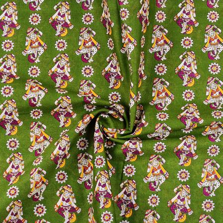 Green-Cream and Purple Cotton Kalamkari Fabric-10138