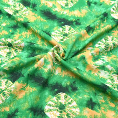 Green-Cream and Yellow Unique Design Crepe Fabric-18049