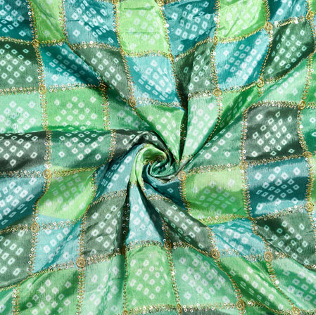 Green Cyan Digital Position Print Chinon Embroidery Fabric-19339