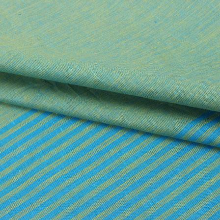 Cotton Shirt (2.25 Meter)-Green Cyan Striped Handloom-140720