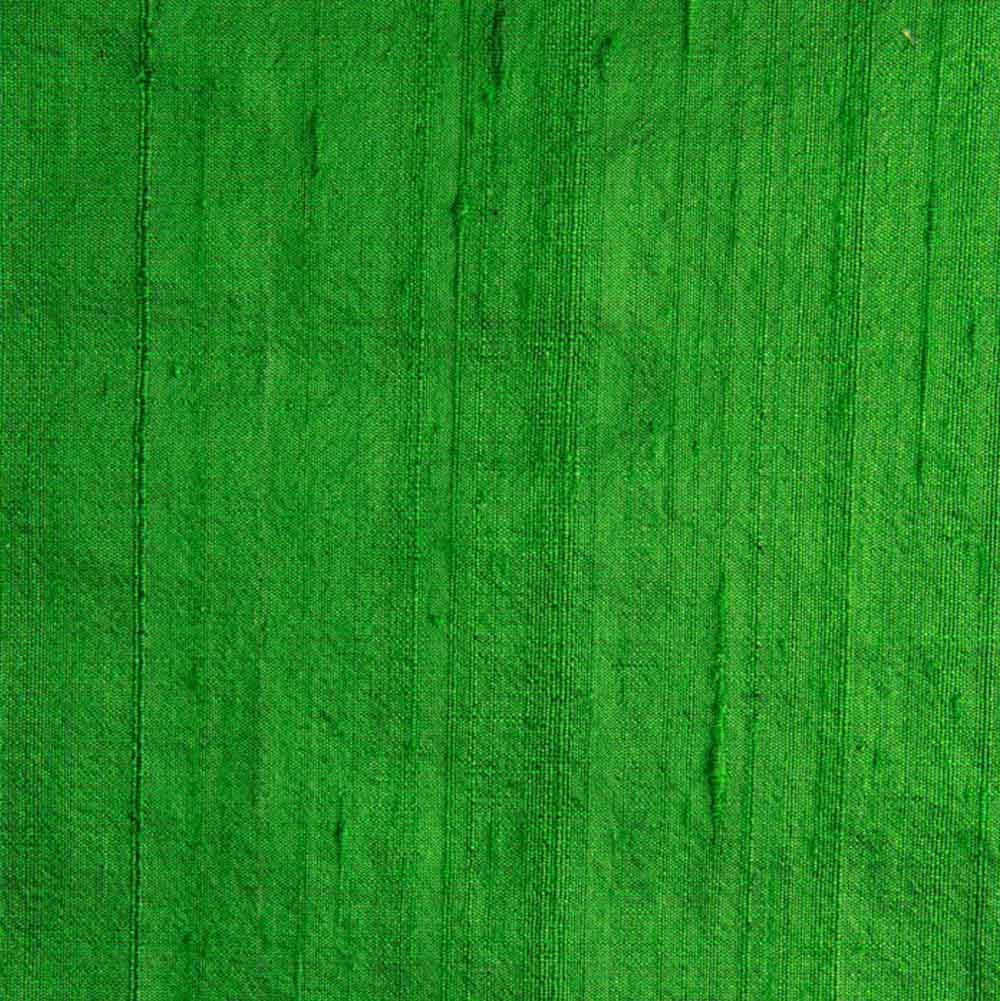 Green Dupion Raw Silk Fabric