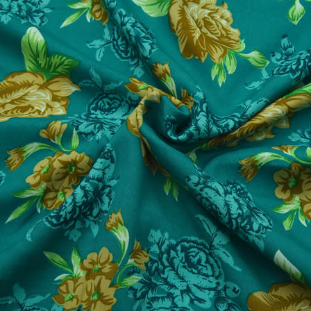 Green Floral Design Crepe Fabric-18061