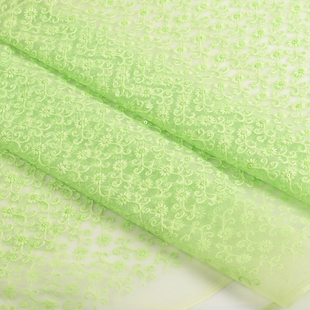 Green Floral Sequin Net Fabric-60667