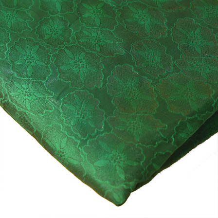 Green Flower Design Brocade Silk Fabric-8189
