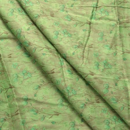 Green Flower Pattern Jam Cotton Silk Fabric-75010