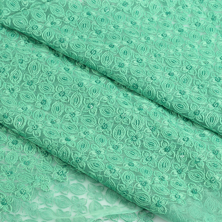 Green Flower Sequin Net Fabric-60648