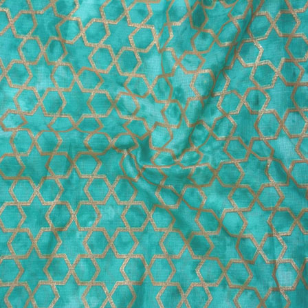 Green Golden Kota Doria Fabric-25121