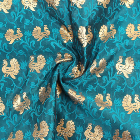 Green Golden Brocade Satin Fabric-9025