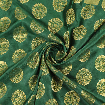Green Golden Brocade Satin Silk Fabric-9048