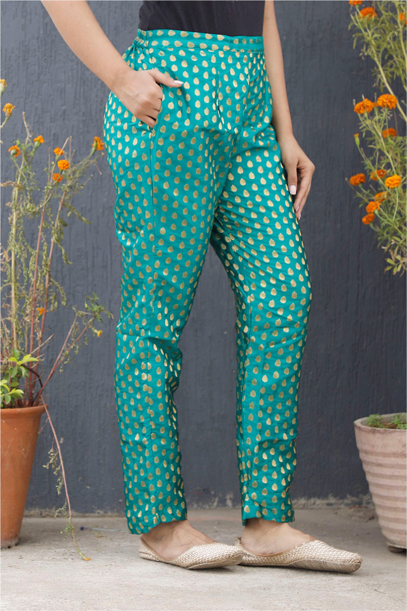 Green Golden Brocade Silk Ankle Women Pant-34211