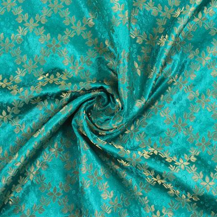 Green Golden Brocade Silk Fabric-8985