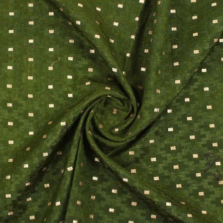 Green Golden Brocade Silk Fabric-9001