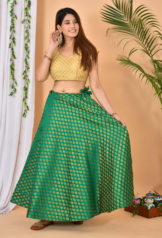 Green Golden Brocade Silk Wedding Lehenga-36977