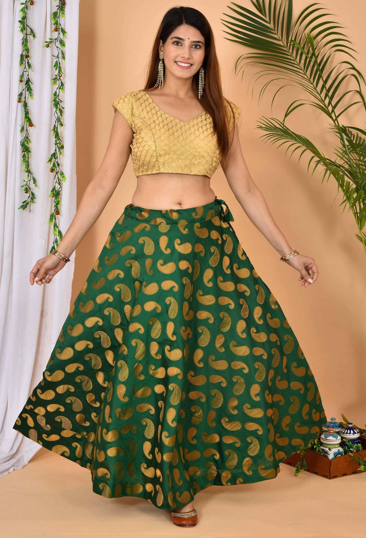 Green Golden Brocade Silk Wedding Lehenga-36978