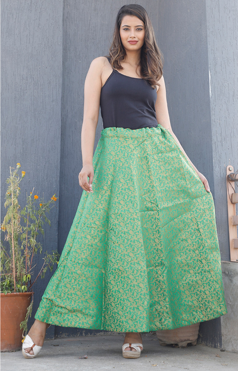 Green Golden Brocade silk Lehenga-34223-(Free Size)