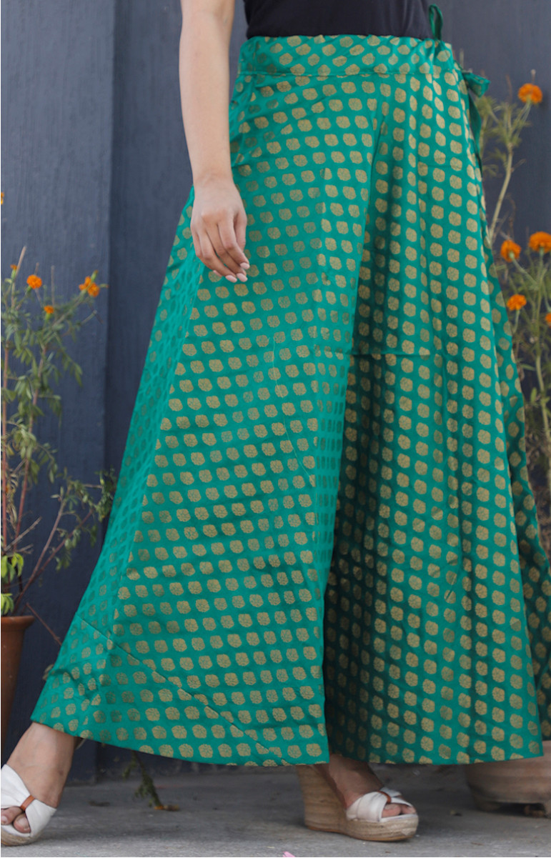 Green Golden Brocade silk Lehenga-34231-(Free Size)