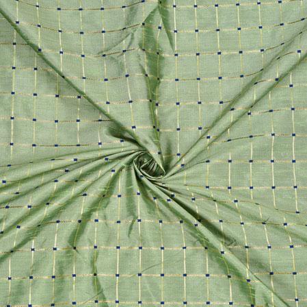 Green Golden Checks Zari Taffeta Silk Fabric-12651