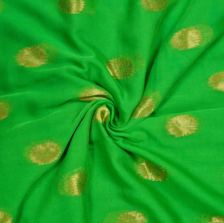 Green Golden Circle Chiffon Nazmin Fabric-41164