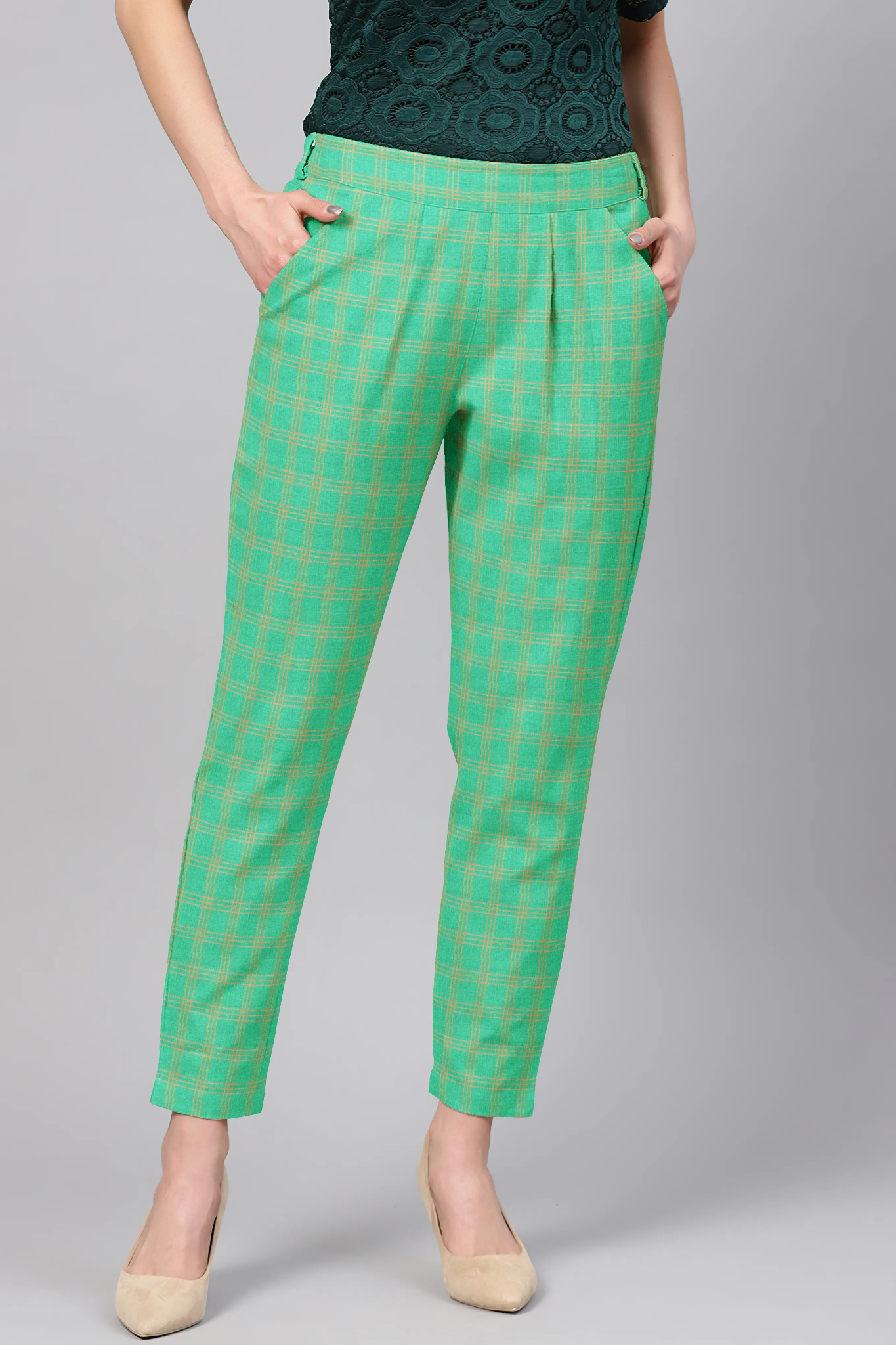 Green Golden Cotton Check Regular Fit Solid Trouser-36102