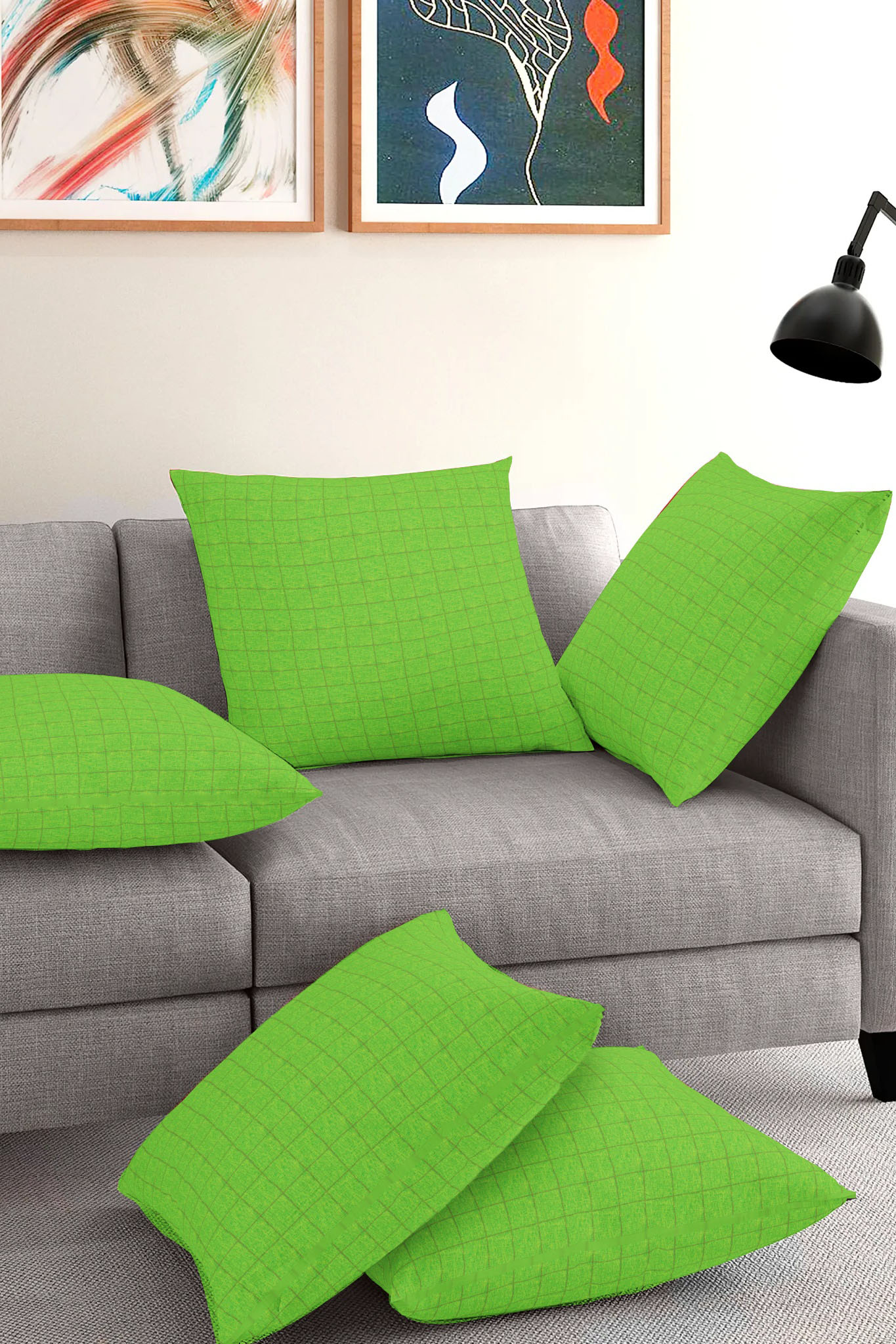 Set of 5-Green Golden Cotton Cushion Cover-35396-16x16 Inches