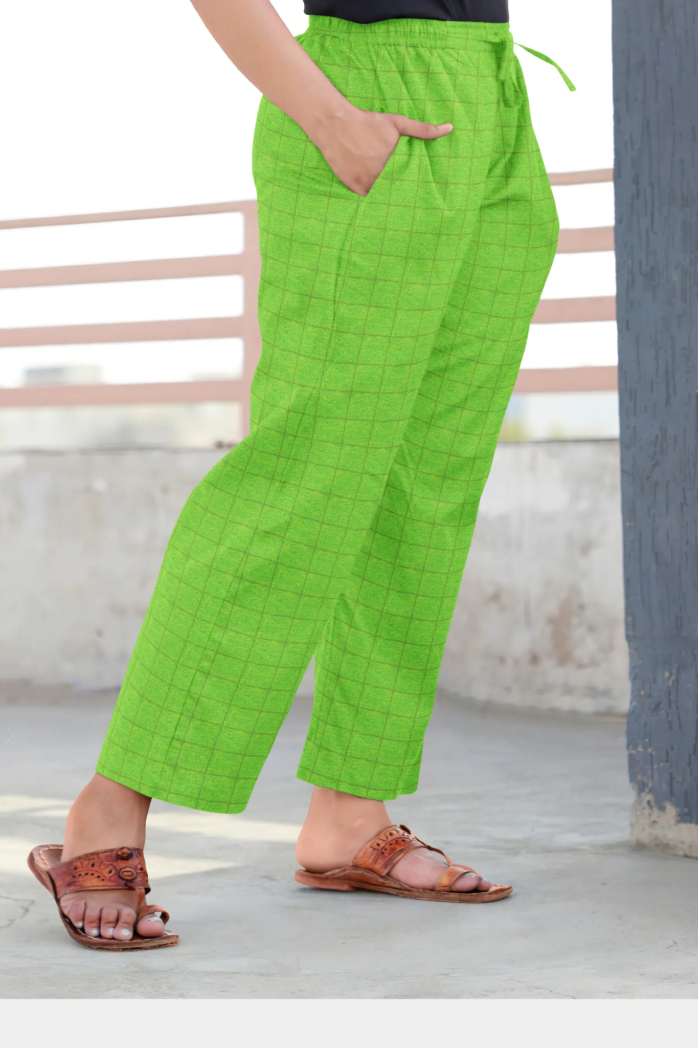Green Golden Cotton Regular Check Pant-35315