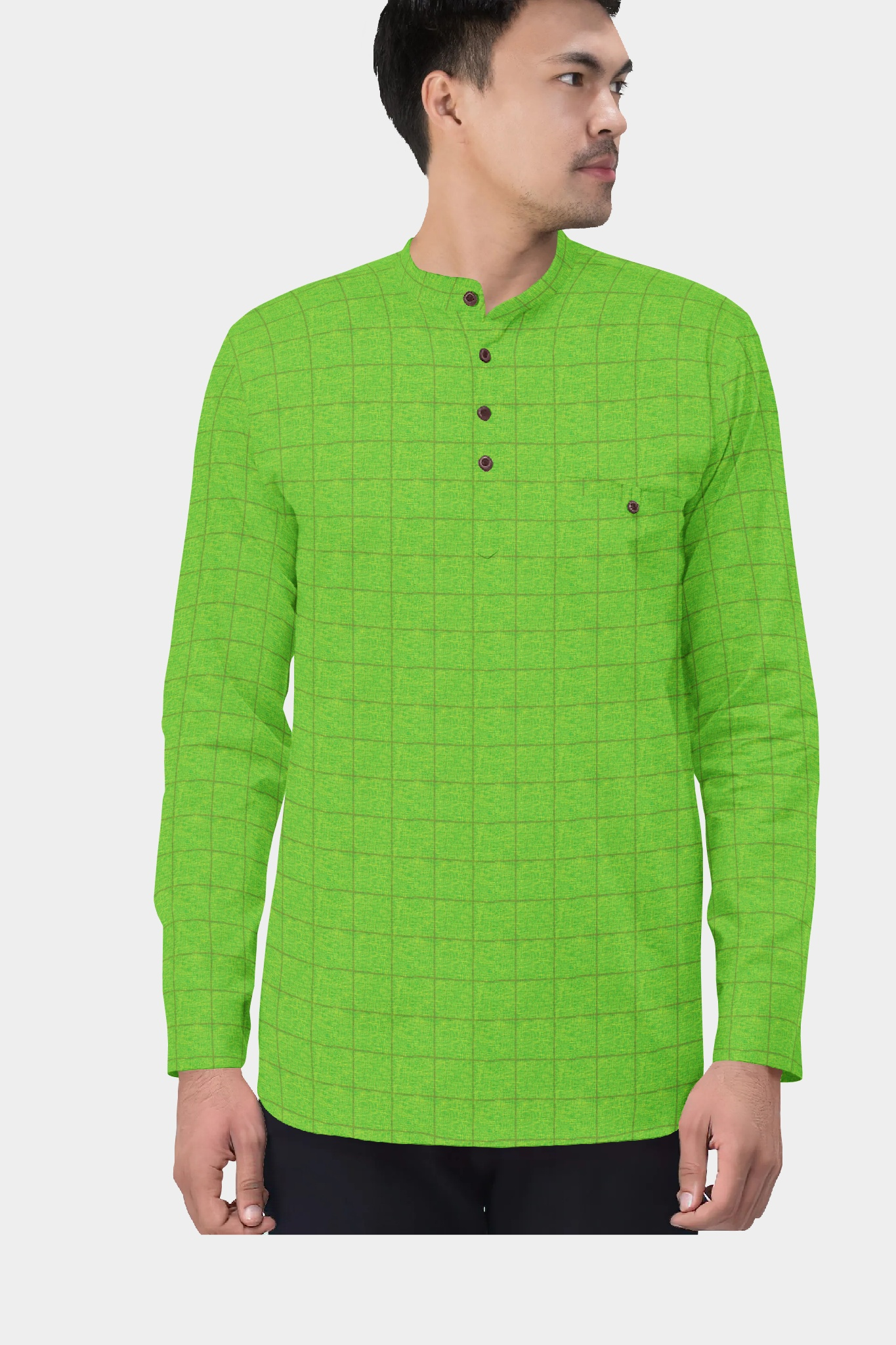 Green Golden Cotton Check Short Kurta-35440