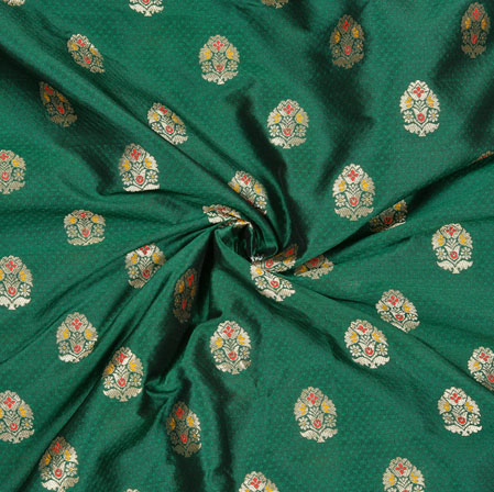 Green Golden Floral Banarasi Brocade Silk Fabric-12783