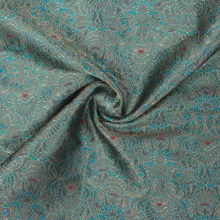 Green Golden Floral Banarasi Silk Fabric-9320