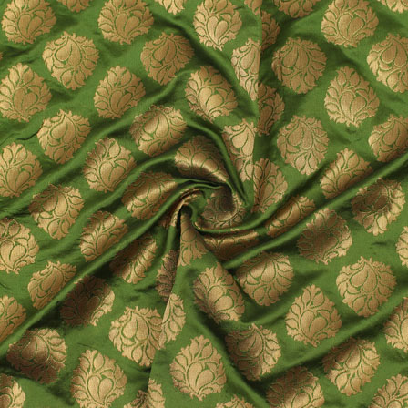 Green Golden Floral Brocade Silk Fabric-9114