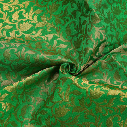 Green Golden Floral Chanderi Zari Silk Fabric-12243