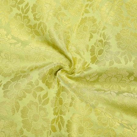 Green Golden Floral Chanderi Zari Silk Fabric-12396