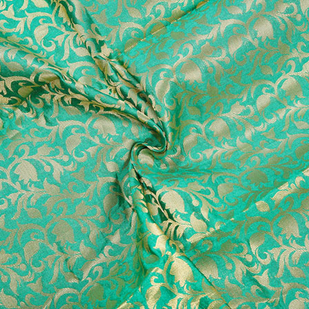 Green Golden Floral Chanderi Zari Silk Fabric-12412
