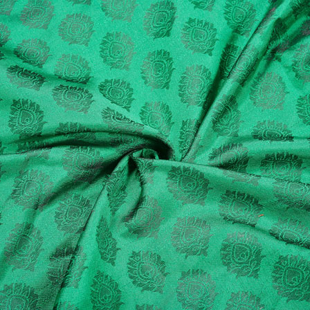Green Golden Floral Chanderi Zari Silk Fabric-12483
