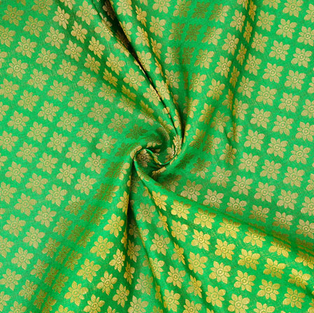 Green Golden Floral Chanderi Zari Silk Fabric-12600