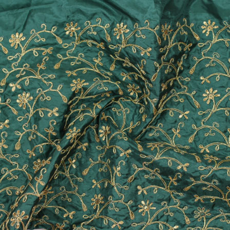 Green Golden Floral Embroidery Silk Fabric-60975