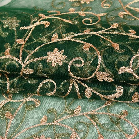 Green Golden Floral Jaal Embroidery Net Fabric-60997