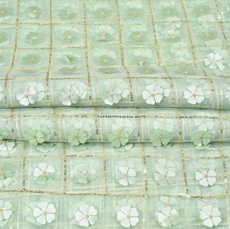 Green Golden Floral Net Applique Embroidery Fabric-19250