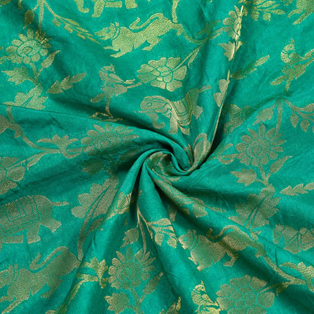 Green Golden Floral Satin Brocade Silk Fabric-12216