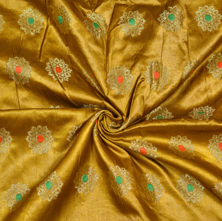 Green Golden Floral Satin Brocade Silk Fabric-12807