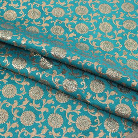 Green Golden Flower Brocade Silk Fabric-9073